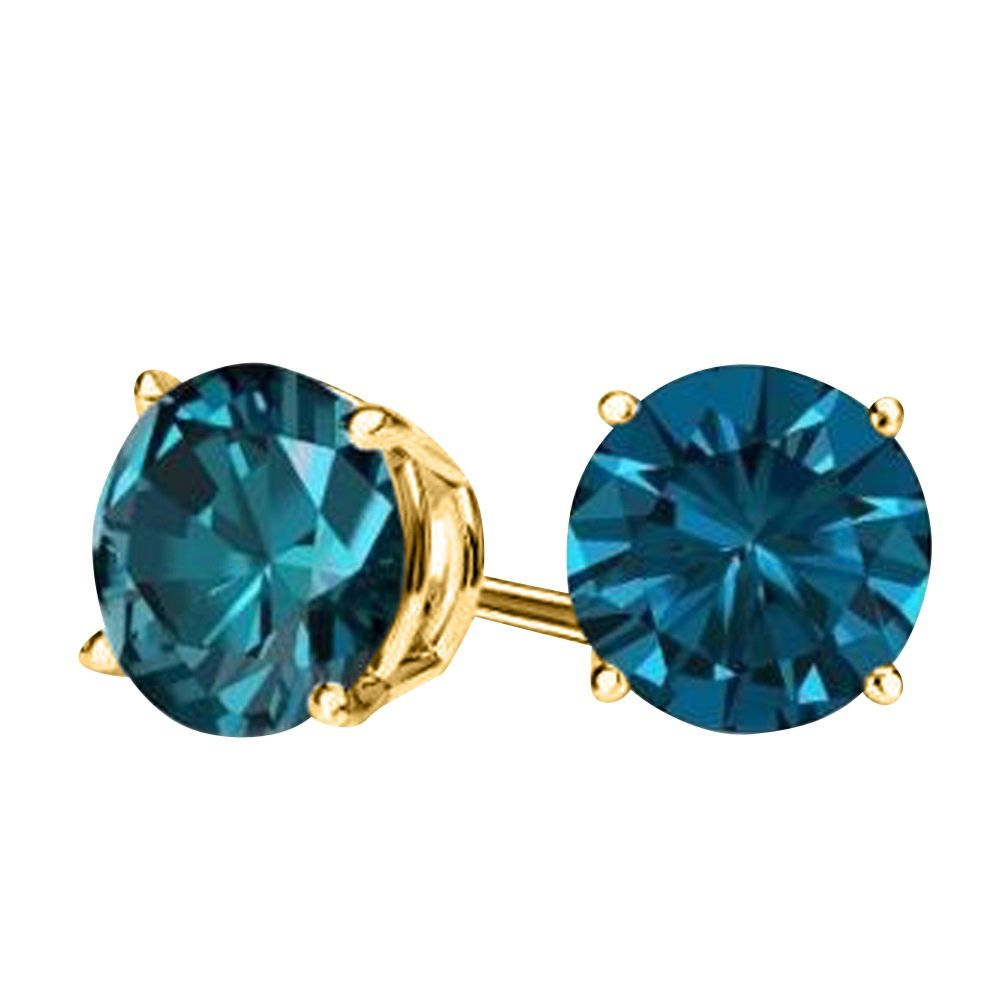 c704b31b2919 Amazon.com  2.00CTW Genuine London Blue Topaz Stud Earrings in 14K Yellow  Gold  Jewelry