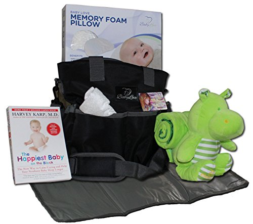 Baby Diaper Bag Gift Basket: New Mom Shower Gifts Set with Travel Changing Pad, Lullabies, Stuffed Animal, Receiving Blanket, Baby Pillow, and Harvey Karp Book - Unisex for Newborn Boys and Girls