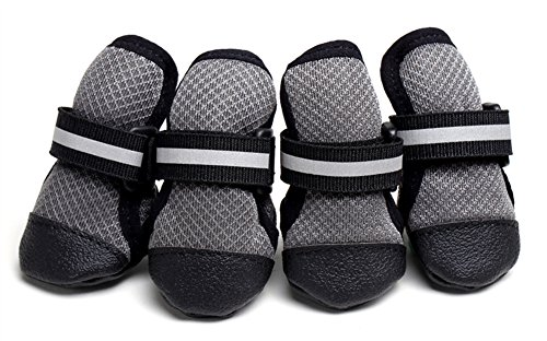 Hdwk&Hped Spring Summer Breathable Mesh Dog Walking Boots, Reflective Velcro Strap Anti-slip PU Sole Dog Boots for Medium Large Dog Grey #60-#90 (#90) by Hdwk&Hped