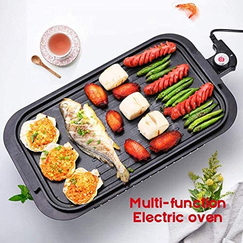aipipl Barbecue électrique à la Maison, Plaque de Cuisson électrique antiadhésive à Double Couche sans fumée, Grille de Barbecue multifonctionnelle