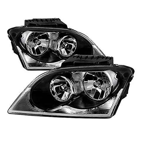 Chrysler Pacifica Halogen OEM Style headlights Black Housing With Clear Lens+ Free Gift Universal DRL 8 White LED - Chrysler Pacifica Headlight Replacement
