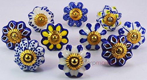 - Dorpmarket 10 Pieces Set Blue,yellow & Brown Color Designed Pumpkin Shape Ceramic Door Knobs Handles Kitchen Drawer Pulls