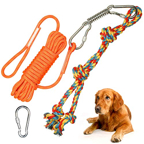 Dog Spring Pole Solo Play Rope Toy,Outdoor Interactive Dog Tree Tug Toy Hanging Rope Dog Aggressive Chewers Toy for Tug of War, Pull Exercise,Bite Training,Muscle Building for Medium Large Dog (H01)
