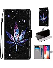 Miagon Full Body Case for iPhone XR,Colorful Pattern Design PU Leather Flip Wallet Case Cover with Magnetic Closure Stand Card Slot,Night Leaf