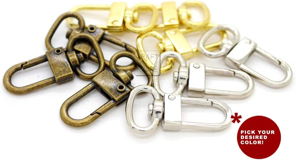 Gold, 1 1//4 Inch CRAFTMEmore 2 Sets 1-1//4 Swivel Snap Hooks Lobster Clasp Push Gate Fashion Clips with 1 D Rings Bag Leather Craft Accessories