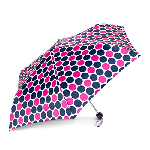 ShedRain RainEssentials Super Mini Manual Print Folding Umbrella: Andi Navy/Pink Dots