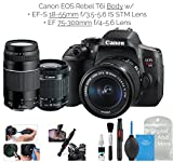 Cheap Canon EOS Rebel T6i Digital SLR Camera (Wifi Enabled) Double Zoom Kit w/EF-S 18-55mm f/3.5-5.6 IS STM Lens + EF 75-300mm f/4-5.6 + DigitalAndMore Deluxe Camera Cleaning Solution