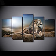 [Medium] Premium Quality Canvas Printed Wall Art Poster 5 Pieces / 5 Pannel Wall Decor Lion 2 Painting, Home Decor Pictures - With Wooden Frame