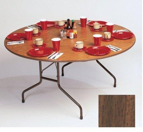 Correll Melamine Walnut - Correll CF60MR 01 Melamine Fixed Height Top Folding Table, Round, 60