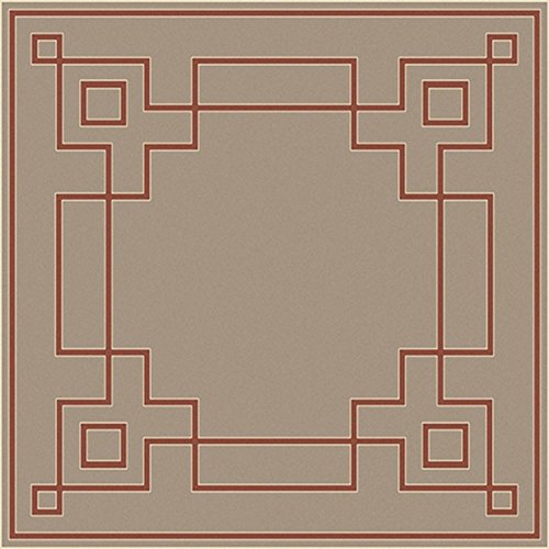 (Diva At Home 7.25' x 7.25' Mosaic Medley Desert Taupe and Cayenne Pepper Red Shed-Free Square Area Throw Rug)
