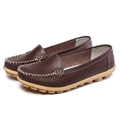 Loafers Women Slippers LINGTOM Driving Slip On Shoes Leather Moccasin J Women's for brown Flat Casual 7Ew7pgnq