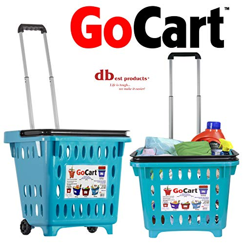 dbest products GoCart,Teal Grocery Cart Shopping Laundry Basket on Wheels (Bin Laundry Cart)