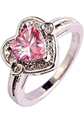 Psiroy 925 Sterling Silver Stunning Created Gorgeous Women's 6mm*6mm Heart Cut Rainbow Topaz Solitaire Filled Ring
