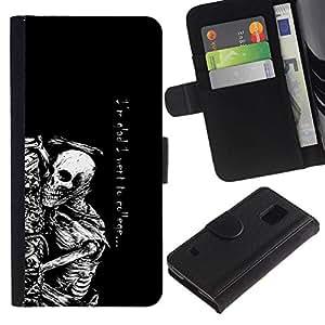 NEECELL GIFT forCITY // Billetera de cuero Caso Cubierta de protección Carcasa / Leather Wallet Case for Samsung Galaxy S5 V SM-G900 // Fue a la universidad Esqueleto divertido gótico