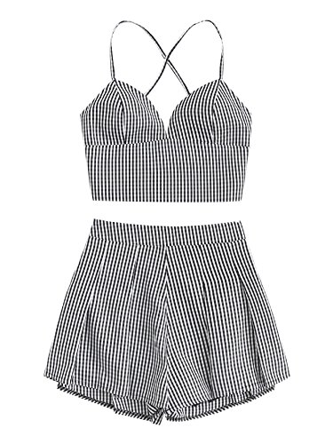 MAKEMECHIC Women's 2 Piece Outfit Summer Striped V Neck Crop Cami Top with Shorts Black-1 L (Summer Tops For Women Forever 21)
