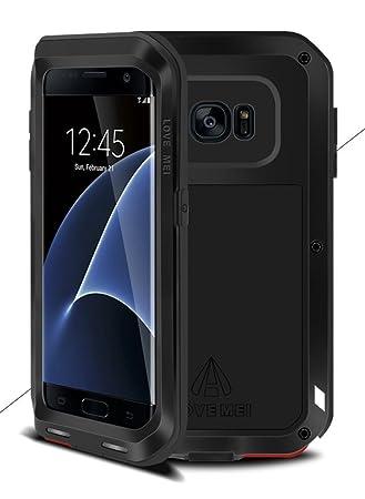 Funda LOVE MEI para Samsung Galaxy S7 Edge, metal de aluminio híbrido y silicona, impermeable ya prueba de golpes