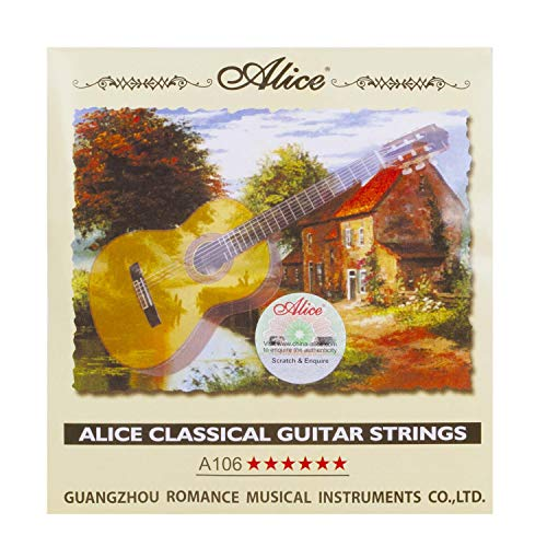 Alice High Tension Nylon Classical Guitar Strings 0285-044 with ball end for Beginner, 3 Sets
