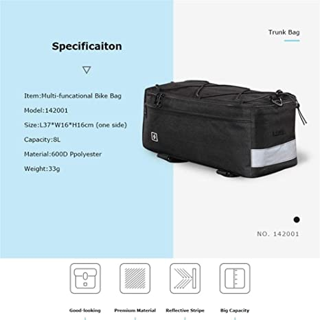 Bike Bicycle Thermal Insulated Trunk Bag Cooler Lunch Bag Pannier Pack 8L