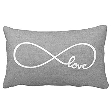 Acelive 20x30 inches Cotton Linen Standard Pillowcase Home Decorative Cushion Case Rustic Gray Love Throw Pillow Cover For Valentine's Day Gifts