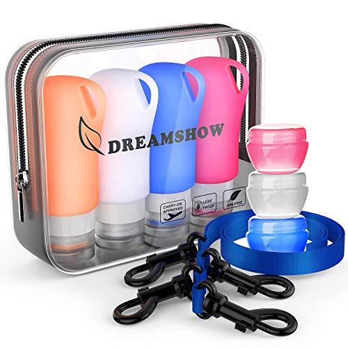 Silicone Travel Bottles,TSA Approved Travel Size containers for toiletries,Leak proof Travel Shampoo And Conditioner Bottles With Shower Lanyard, Travel Accessories