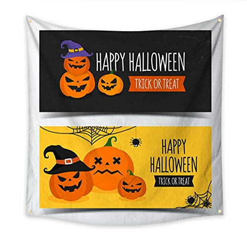 Anniutwo Beach Wall Tapestry Halloween Banner Design Template Decorate with Pumpkin Create by Vector Bedroom Living Room Dorm 32W x 32L Inch