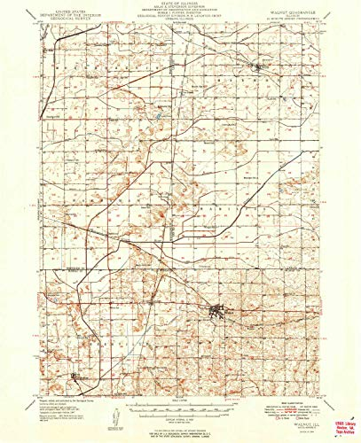 YellowMaps Walnut IL topo map, 1:62500 Scale, 15 X 15 Minute, Historical, 1949, 20.8 x 17 in - Tyvek