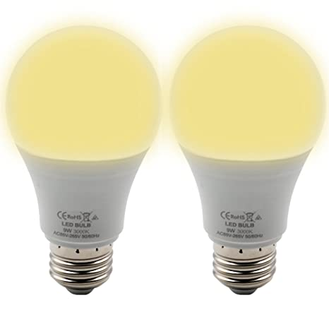 BeiLan 2x LED E27 Tornillo Bombilla 9W 850LM 3000K Blanco cálido No regulable Equivalente 60W Bombillas
