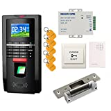 Bio Fingerprint Reader and Rfid Key Fob Door Access Control System & Time Attendance Kits ANSI Strike Lock USA Use 110V Power Unit