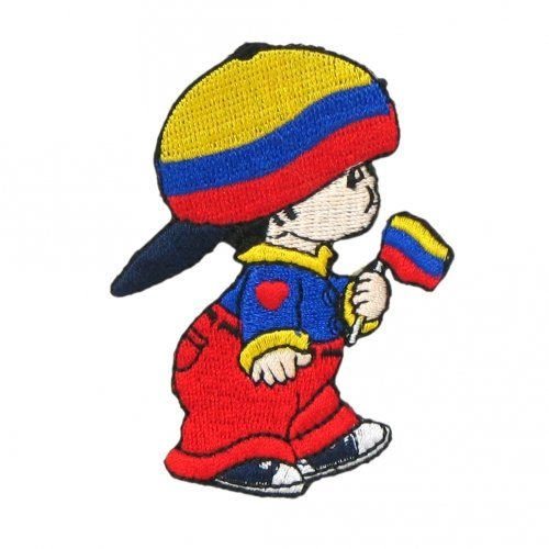 COLOMBIA LITTLE BOY COUNTRY FLAG IRON-ON PATCH CREST BADGE S
