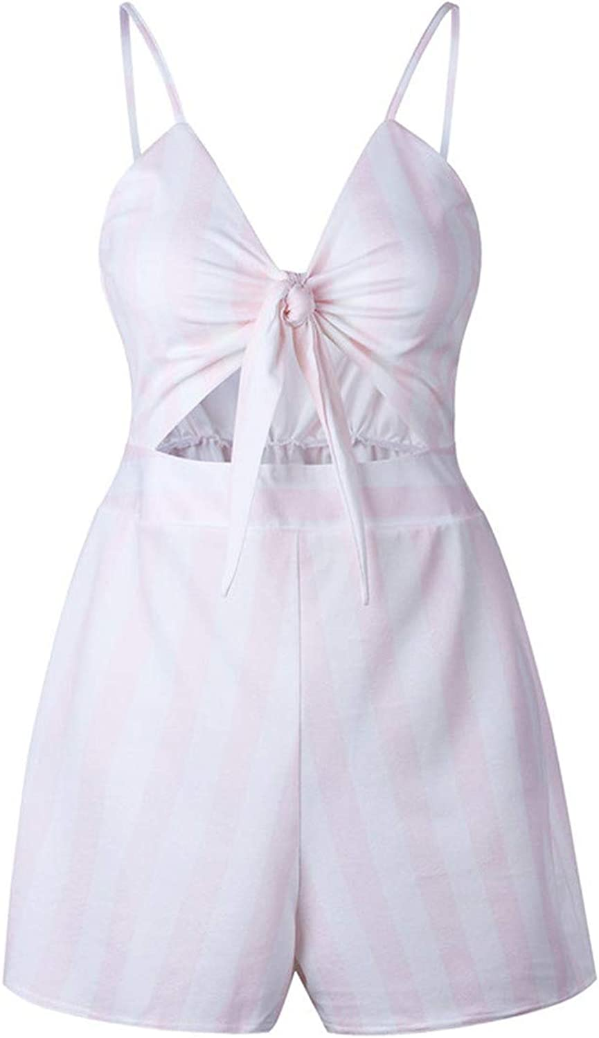 biu-biu jumpsuits-apparel Women Summer Bow Knot Off Shoulder Playsuit Beach Party Sweet Overalls,Pink Stripe,S