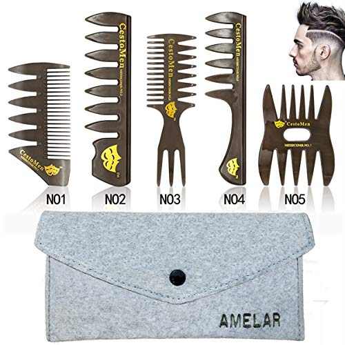 6 PCS Hair Comb Styling Set Barber Hairstylist Accessories,Professional Shaping & Wet Pick Barber Brush Tools, Anti-Static Hair Brush for Men Boys ()