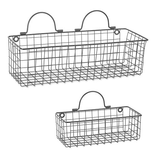 DII Farmhouse Vintage Hanging Wall Mounted Wire Metal Basket for Kitchen, Office, Bathroom, Mudroom, Entryway, Laundry Room, Set of Assorted 2 - Gray ()
