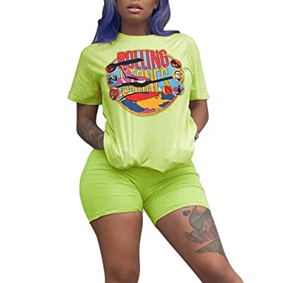 NVXIYYA Women Casual 2 Piece Outfit Short Sleeve Cartoon Print T-Shirts Bodycon Shorts Set Jumpsuit Rompers S-XXL at Women's Clothing store