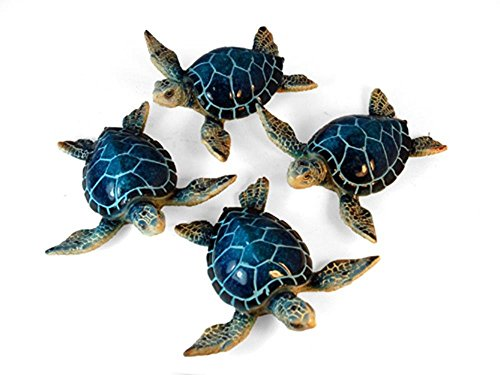 StealStreet YXC-937 Ss-Ug-Yxc-937, 4.25 Sea Turtle Decorative Figurines, Set of 4 – Blue green