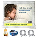 Perfect Christmas Gift LandKissing Half Bed Sheet White (with Tester) for Grounding- Large Size 118''x51'' - One Wrist Band Two Cords - Perfect Holiday Gift