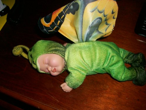 Plush Toy Anne Geddes Green Sleeping Baby With Butterfly Wings -