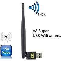 FREE SAT V8 Super Antenna wifi USB wifi para FREESAT V7,V8 señal, para CCCAM IPTV Set-Top box, e.g. MAG250 MAG254 MAG322 MAG351 and etc.. Compatible con PC/Laptop también