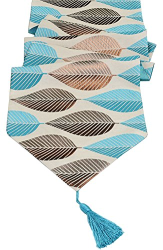 Multi-Size Elegant Table Runners LivebyCare For Home Decorative Coffee Table Polyester Jacquard Table Runner Blue 13 x 64 Inches