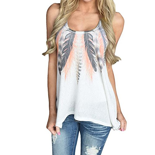(KIKOY Womens Sexy Sleeveless Feather Print T-Shirt Summer Casual Tank Tops Sale)