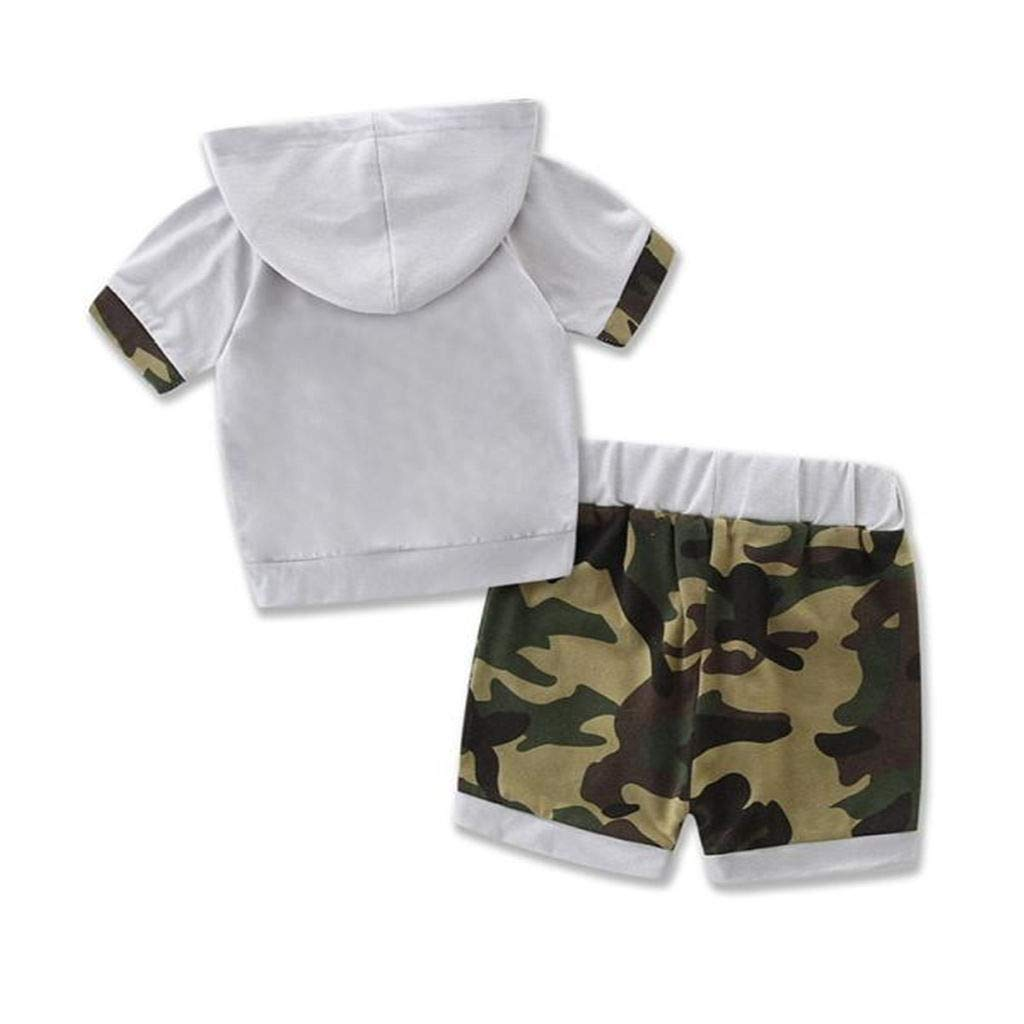 Summer Toddler Kids Clothes Baby Boy Camouflage Patchwork Hoodie Tops Shorts Outfits Set Sweatsuits Fanteecy Tracksuit