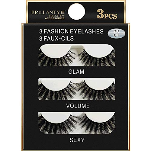 LiPing 3 Pairs 3D Long False Fluffy Strip Eyelashes -Soft Premium Natural Thick Beauty Dense Charming False Eyelashes Natural Party Long Eyelash Extension (A)]()