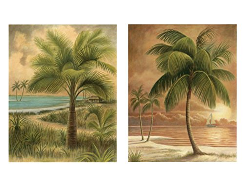 "Palm Bamboo Picture (wallsthatspeak 8"" x 10"" Island Palm Tree Wall Prints for Home (Set of 2), Beach Scene Decor for Bathroom or Office, Nautical/Beach Party Decorations, Hawaiian Art for Living Room)"