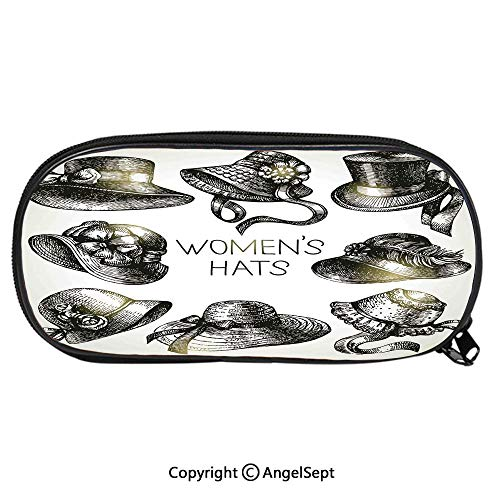 (Pattern Pencil Bag Collection of Vintage Woman Hats and Retro Fashion Catalogue Female Old Headdress Image for Kids Boys Girls School Students Pencil Case with Zipper Children Pen Bag Pouch HolderBla)