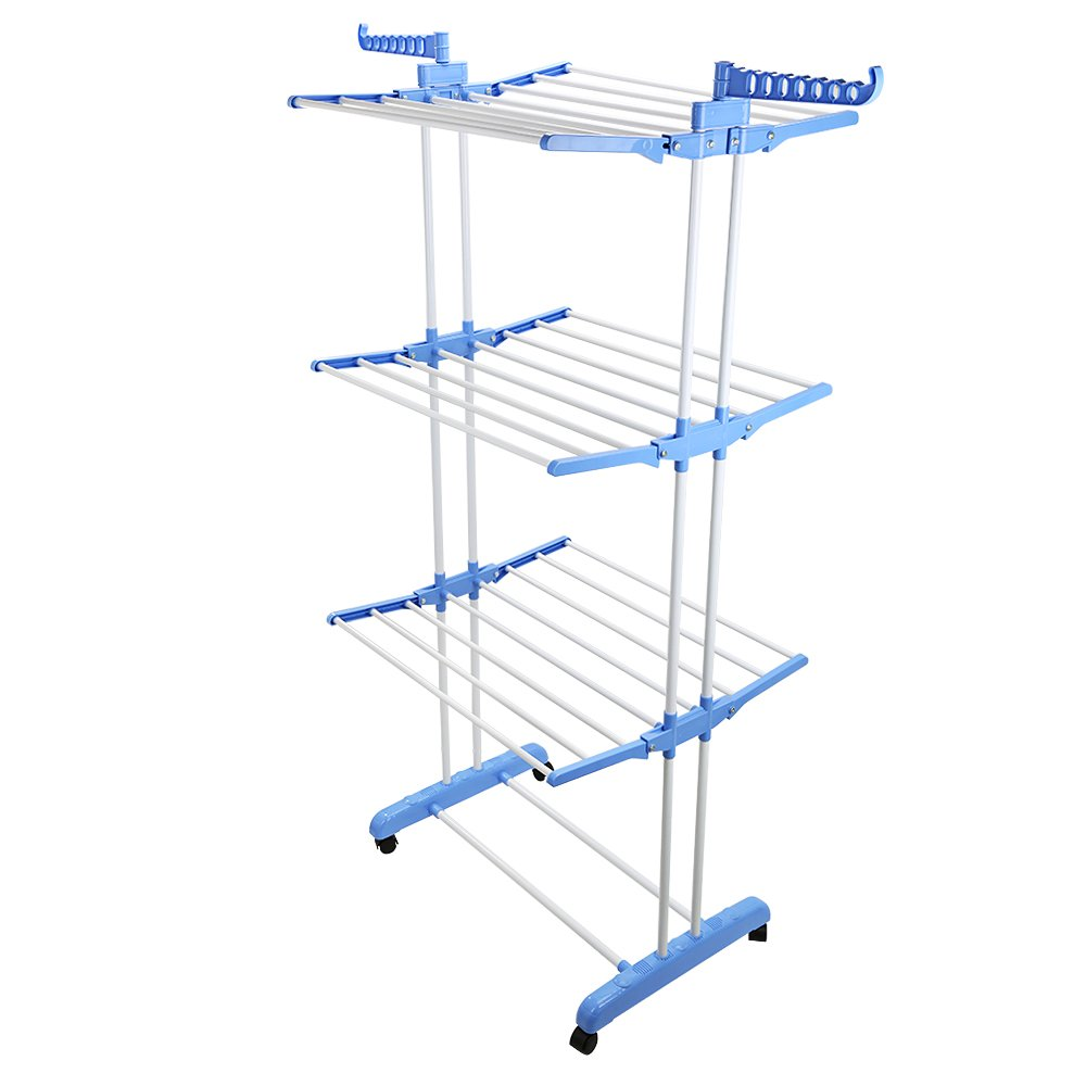 OGORI 3-Tier Indoor Outdoor Foldable Airer Laundry Dryer Hanger Rack Rail Adjustable Clothes Dryer with Wheels