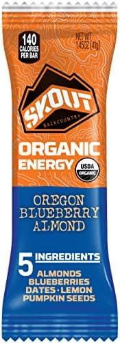 SKOUT Organic Energy Bars - Oregon Blueberry - Vegan Snacks - Plant Based Bars - Non-GMO - Gluten Free, Dairy Free, Soy Free - No Refined Sugar - 1.3 oz (12 Count)