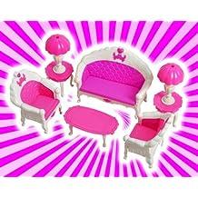 Kangkang@ Luxurious Barbie Doll House Living Room Furniture Set- Pink the Doll Furniture Fittings Pink Sitting Room Living Room