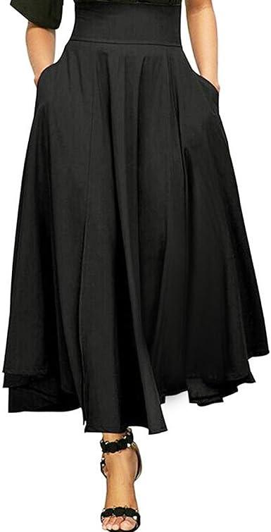 Reaso Femmes Jupe Plissé Rétro Jupe Longue Elegant Robe Taille Haute Vintage Fille Elastique A Line Midi Jupe Basique Chic Plaid Court Jupe Jupe