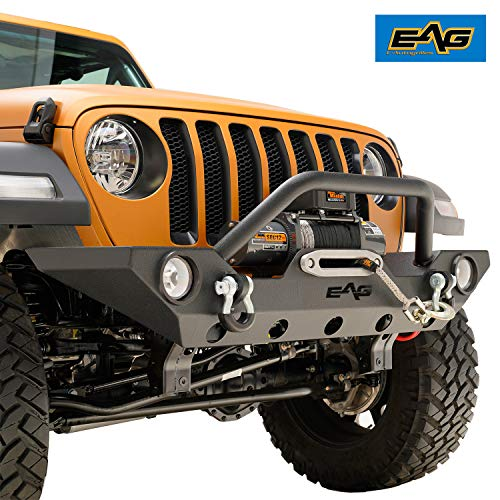 EAG Front Bumper Rock Crawler with Fog Light Housing and Winch Plate Fit for 18-19 Jeep Wrangler JL