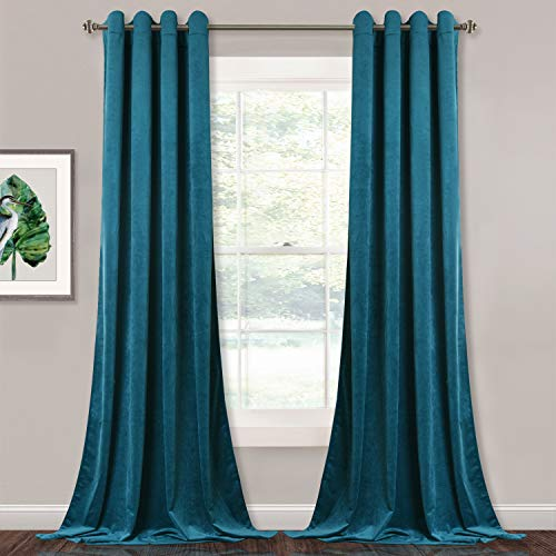 StangH Velvet Curtains 96 inch - Living Room Blackout Curtains Heavy Duty Grommet Top Drapery Panels for Bedroom/Guest Room, Teal, 52 x 96 inches, 2 Panels (Grommet Panels Drapery Top)