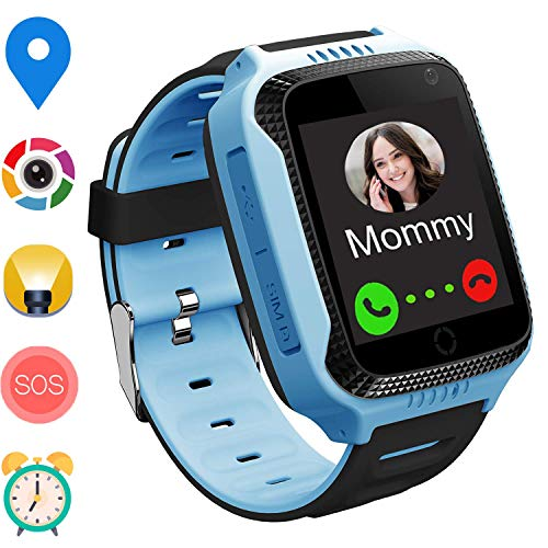 (GPS Smart Watch for Kids – Boys Girls Smartwatch Phone with GPS/LBS Locator 2 Way Call SOS Camera Voice Chat Math Game Step Counter Geo Fence for Holiday Birthday Gifts Back to School (01 GPS Blue))